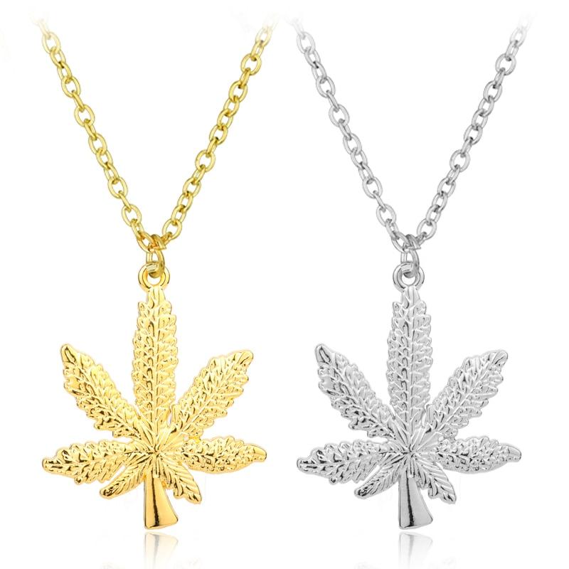 HANCHANAG New Superme Pendant Necklace Hiphop Weed Leaf Marijuana Maple Leaf Chain Franco Hip Hop Punk Necklace Jewelry Xem Gift handbag