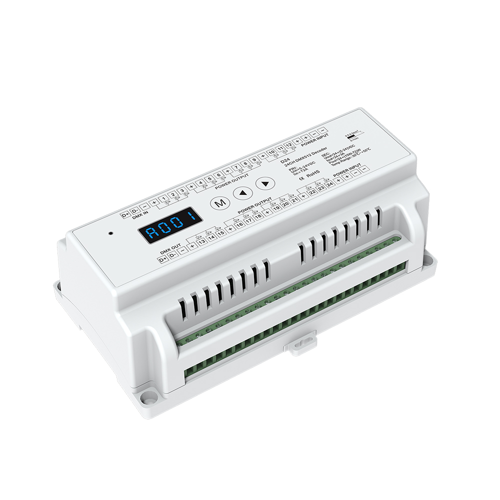 24 CH Constant Voltage DMX512 Decoder Din Rail Mounted 24 Channel 24CH RGB Controller 24ch Dimming Controller DC 5-24V 24ch 24channel easy dmx512 dmx decoder led dimmer controller dc5v 24v each channel max 3a 8 groups rgb controller iron case
