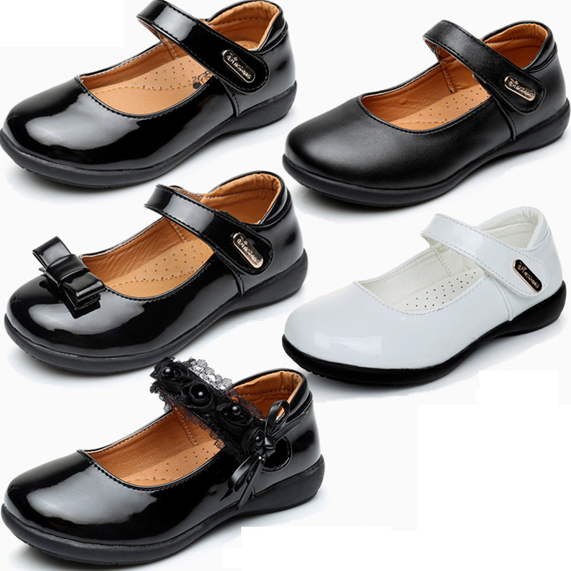 crianca sapatos de couro meninas princesa sapatos de couro pu criancas pequenas bowite flats big party
