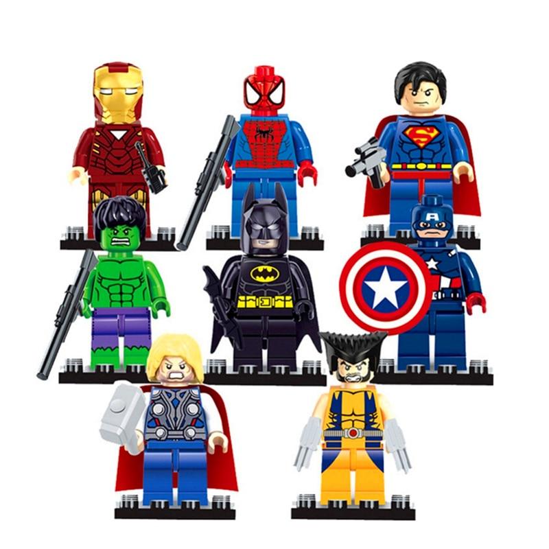 SY180 8Pcs/Set Iron Man Spiderman Batman Green Giant Captain Building Blocks Brick Compatible LegoIN Playmobil Toys For Children