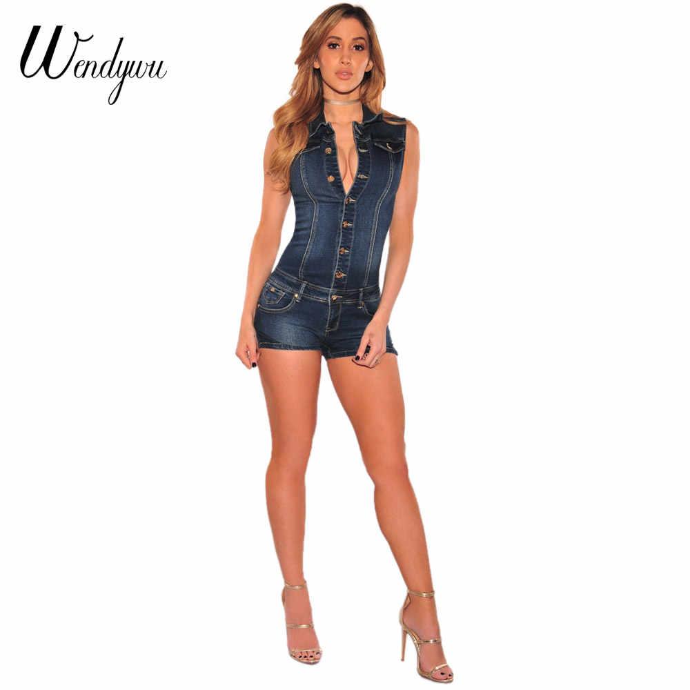 WENDYWU/лето Повседневное Для женщин отложной воротник без рукавов темно-синие джинсы комбинезон с Пуговицы