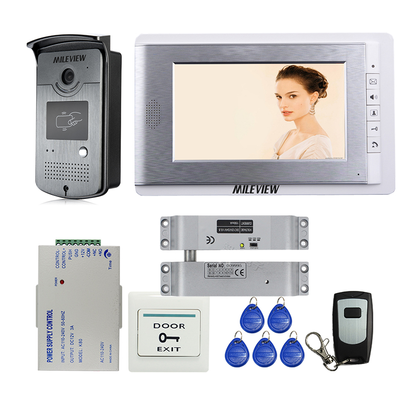 Free Shipping Apartment 7 Color Monitor Video Door Phone Intercom System RFID Access Doorbell Camera + Electric Drop Bolt Lock home security new 7 color video door phone intercom system rfid access doorbell camera white monitor power free shipping