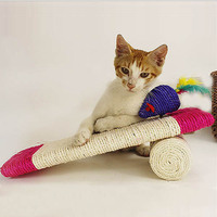 Cats Sisal Scratching Board Kitten Play Toys Pillow with Mouse Orange Hot Pink