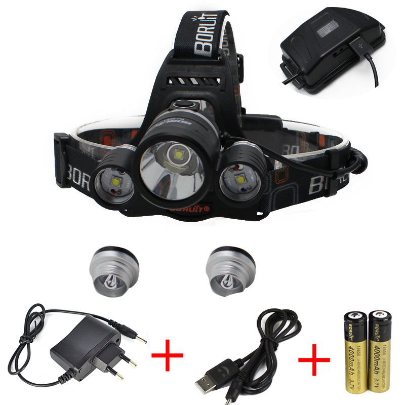 BORUIT 8000Lm 3x XM-L2 LED Headlight Headlamp Head Torch+AC/USB Charger+2X 18650 Camping Fishing Cycling Rock Climbing 3x xm l l2 8000 lm rechargeable headlamp outdoor headlight linterna frontal for hunting 18650 battery charger usb cable