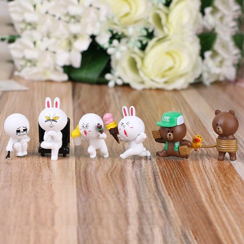 6pcs/lot PVC Line Brown Bear Cony Rabbit Moon Friends Action Figure Cute Decoration And Toys For Kids free shipping 6pcs cute garen xinzhao jarvaniv ezreal leesin sona pvc action figure style keyring key chains 6pcs per set