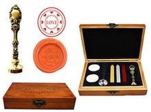 Vintage Love Heart Custom Luxury Wax Seal Sealing Stamp Brass Peacock Metal Handle Sticks Melting Spoon Wood Gift Box Set