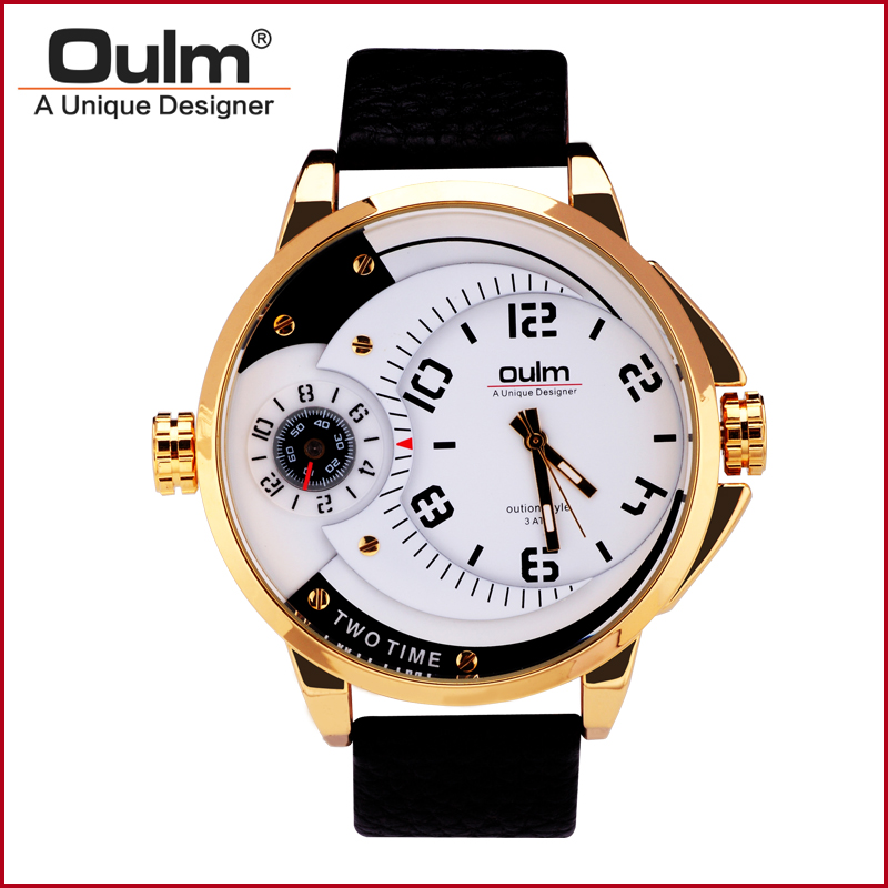 font b Oulm b font HP3706 Clock font b Luxury b font Gold Watch Men