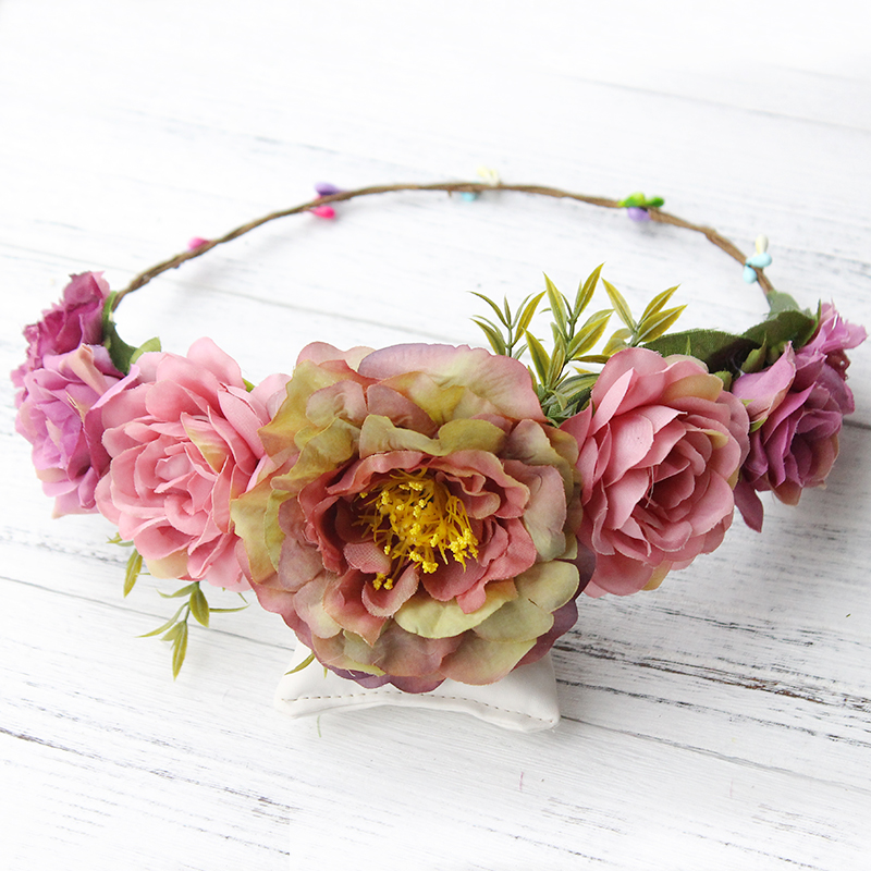 Floral Headband Women Flower Crown Wedding Garland Hair Accessories Girls Flower Hairband Bridal Headdress Headpiece Boho women girl bohemia bridal camellias hairband combs barrette wedding decoration hair accessories beach headwear