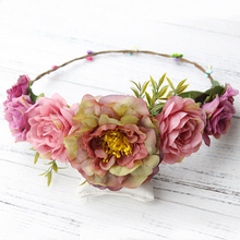 Floral Headband Women Flower Crown Wedding Garland Hair Accessories Girls Flower Hairband Bridal Headdress Headpiece Boho