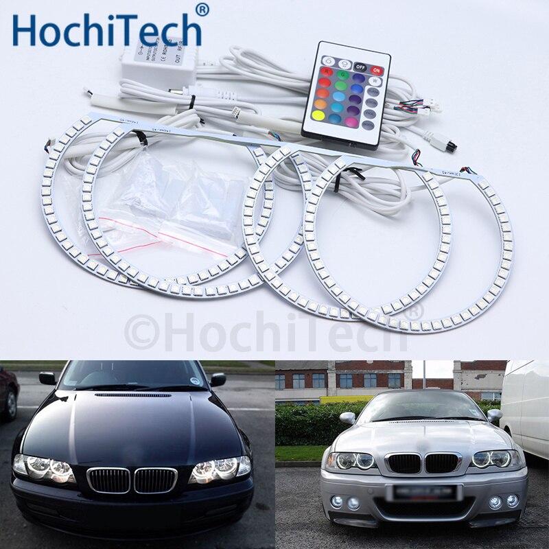 Pour BMW 3 Serie E46 berline facelift 2001-2005 phare halogène multicolore Led Angel Eyes Kit RGB Halo anneaux feux de jour DRL