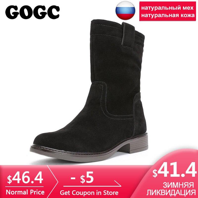 GOGC/зимние сапоги из 100% натуральной кожи, женские замшевые непромокаемые теплые зимние сапоги на каблуке, женские зимние сапоги до середины ...