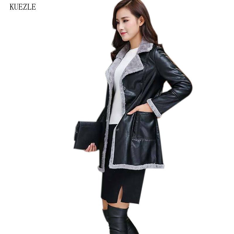 Female Pu   Leather   Jackets 2018 Woman Winter Black   Leather   Coats Artificial   Leather   Fur Collar   Leather   jacket coat women Black