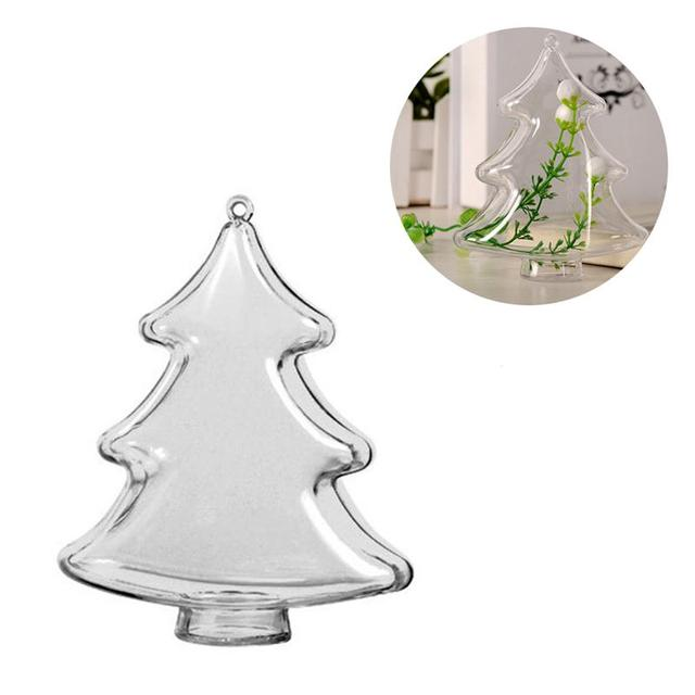 10cm DIY Clear Plastic Fillable Christmas Tree Shaped Ball Craft Ornament  Hang Decorations - 10cm DIY Clear Plastic Fillable Christmas Tree Shaped Ball Craft