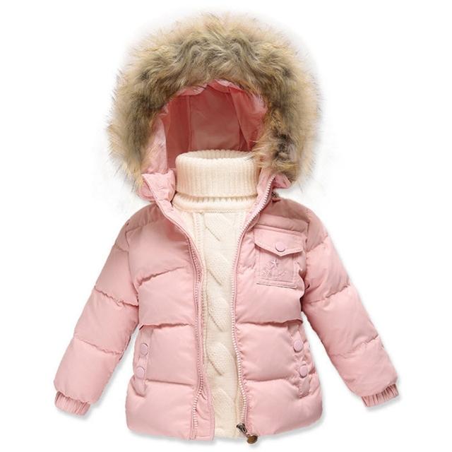 Muchachas de Los bebés Chaquetas de Down 2016 Nuevos de Invierno Capas de la Chaqueta Outwear Con Capucha Extraíble Rosa Rojo Verde Niños Ropa 12M-5A GC40