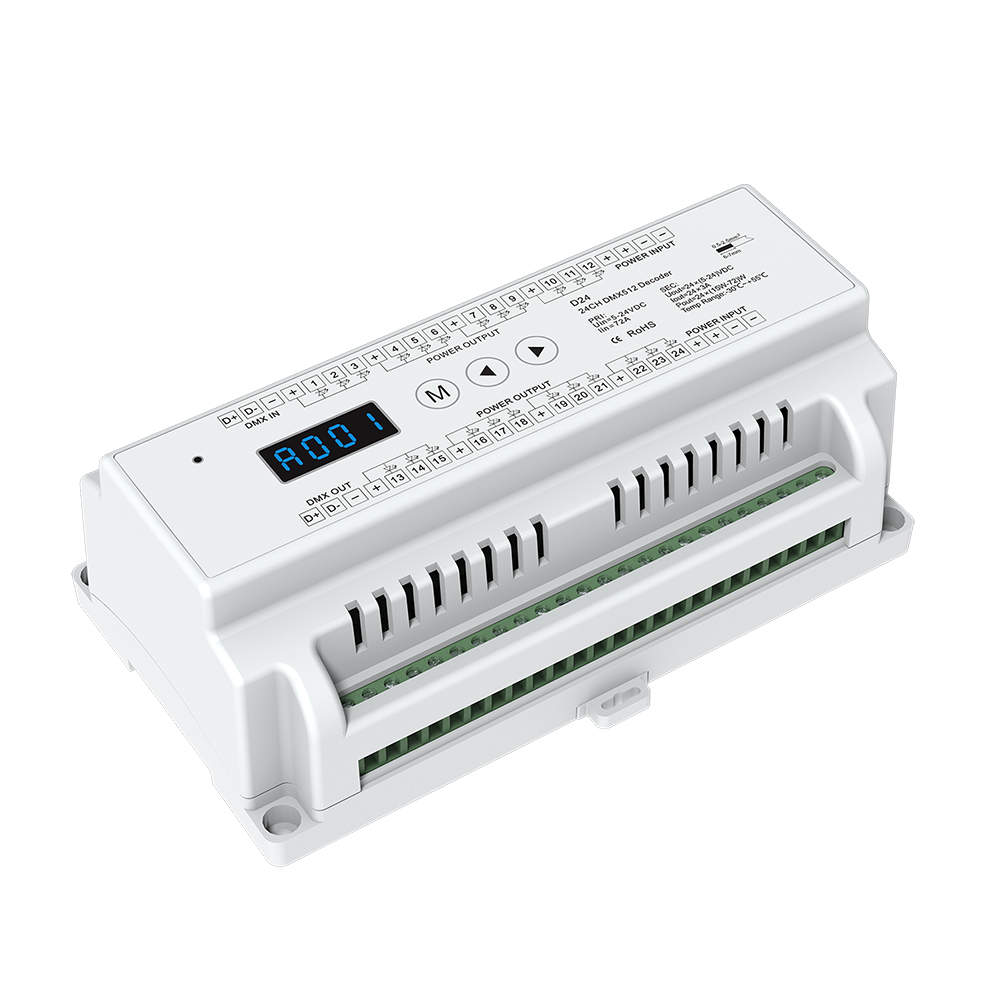 24ch Dimming Controller 24 CH Constant Voltage DMX512 Decoder Din Rail Mounted 24 Channel 24CH RGB Controller DC 5-24V dmx512 digital display 24ch dmx address controller dc5v 24v each ch max 3a 8 groups rgb controller