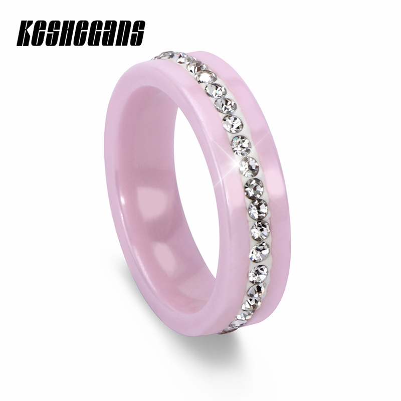 New Fashion Pink Black White Ceramic Ring With 1 Row Crystal Rhinestone Engagement Ring For Women Trendy Elegant Jewelry Gifts