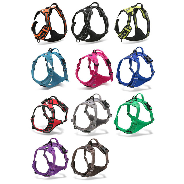 Collars, Harnesses & Leashes Dogs Reflective Nylon Large Dog Harness Adjustable  My Pet World Store