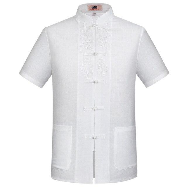 Белый Китайских людей Хлопок Лен Вышивка Кунг-Фу Рубашка Летом топы С Коротким Рукавом Clothing Размер S M L XL XXL XXXL
