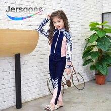 Jersqons 2018 Children Swimwear Girl Bathing Suits Cartoon Surfing Swimming Wear Kids Long Sleeve Beachwear Anti-UV