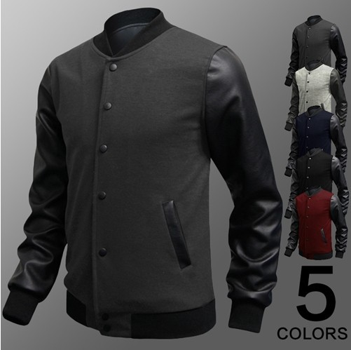 2016 New Veste Homme Autumn Slim Fit Casual Jackets PU Leather Sleeve Jacket Men Bomber ackets And Coats Size Free Shipping
