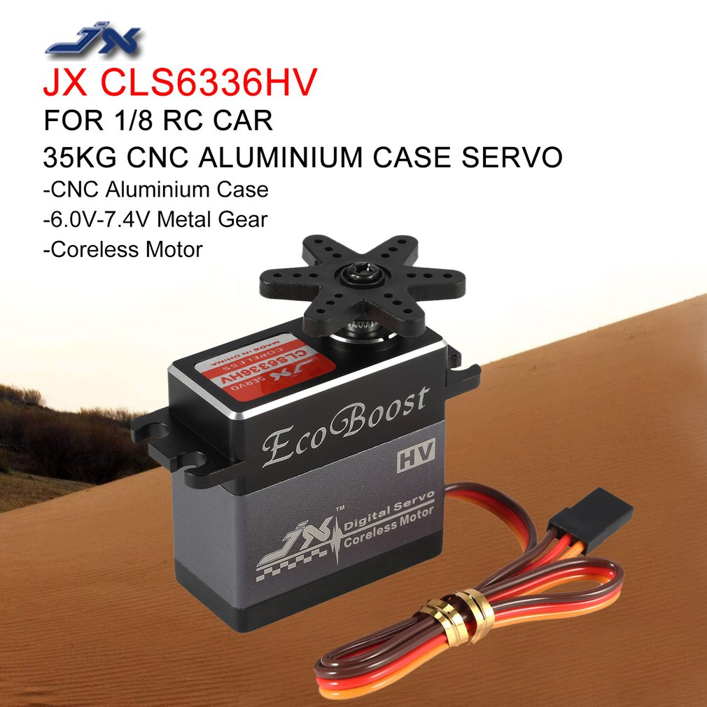 JX 35KG 6 7.4V High Voltage Metal Gear Aluminium Shell Digital Coreless Servo for 1/8 RC Car 2000mm Fixed Wing Airplane RC Parts