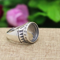 Art Nouveau Engagement Wedding Party Vintage Ring Sterling Silver 925 Jewelry Round Cabochon 15x15MM For Gemstone