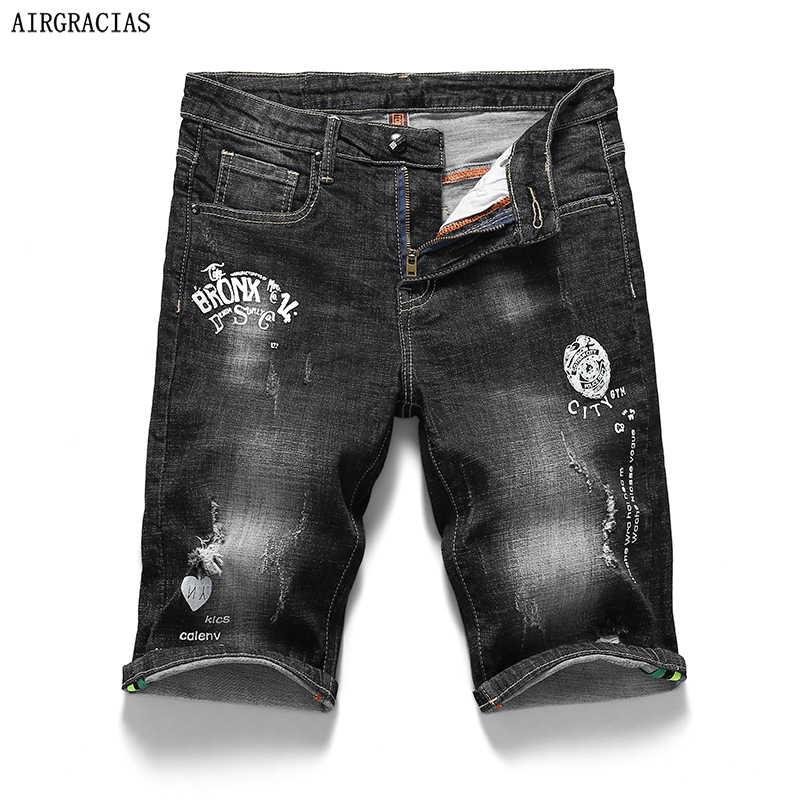 AIRGRACIAS السراويل السوداء الرجال طباعة جينس قصير مستقيم 98% القطن السراويل جان برمودا الذكور الدنيم ماركة الملابس حجم 28-40