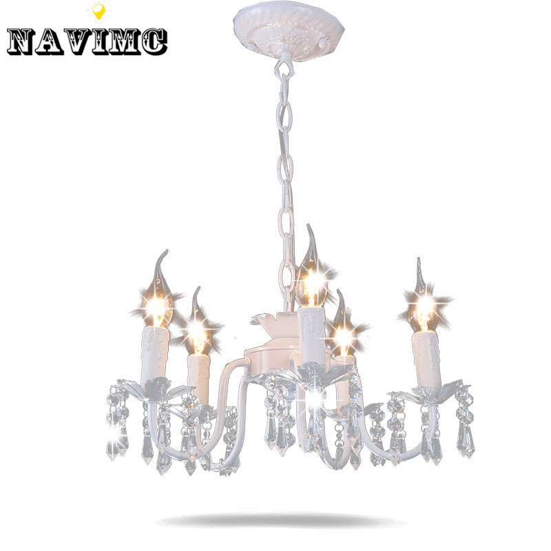 White iron crystal chandelier modern lighting fixture for for Chandelier light for girls room