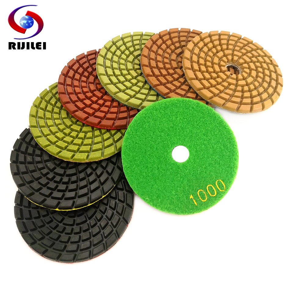 RIJILEI 7PCS 4inch Diamond Polishing Pads Thick 4mm Wet Diamond Concrete Floor Polishing Pad For Marble Stone Grinding Discs