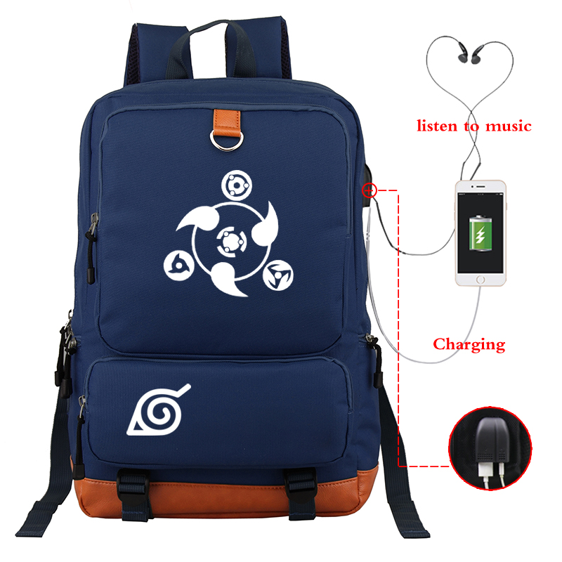 Dark Blue Backpack Anime Backpacks Luminous NARUTO Bagpack Girls Boys School Bags Laptop Bag USB Charging Daypack Sac A Dos