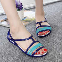 MCCKLE Women Rianbow Flat Jelly Sandals Female Casual Mixed Candy Color Ladies Slip On Soft Comfort Peep Toe Fashion Beach Shoes