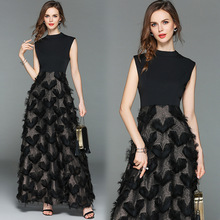 New women fashion dress long black lace dress Slim gilded feather dress temperament tassel dress