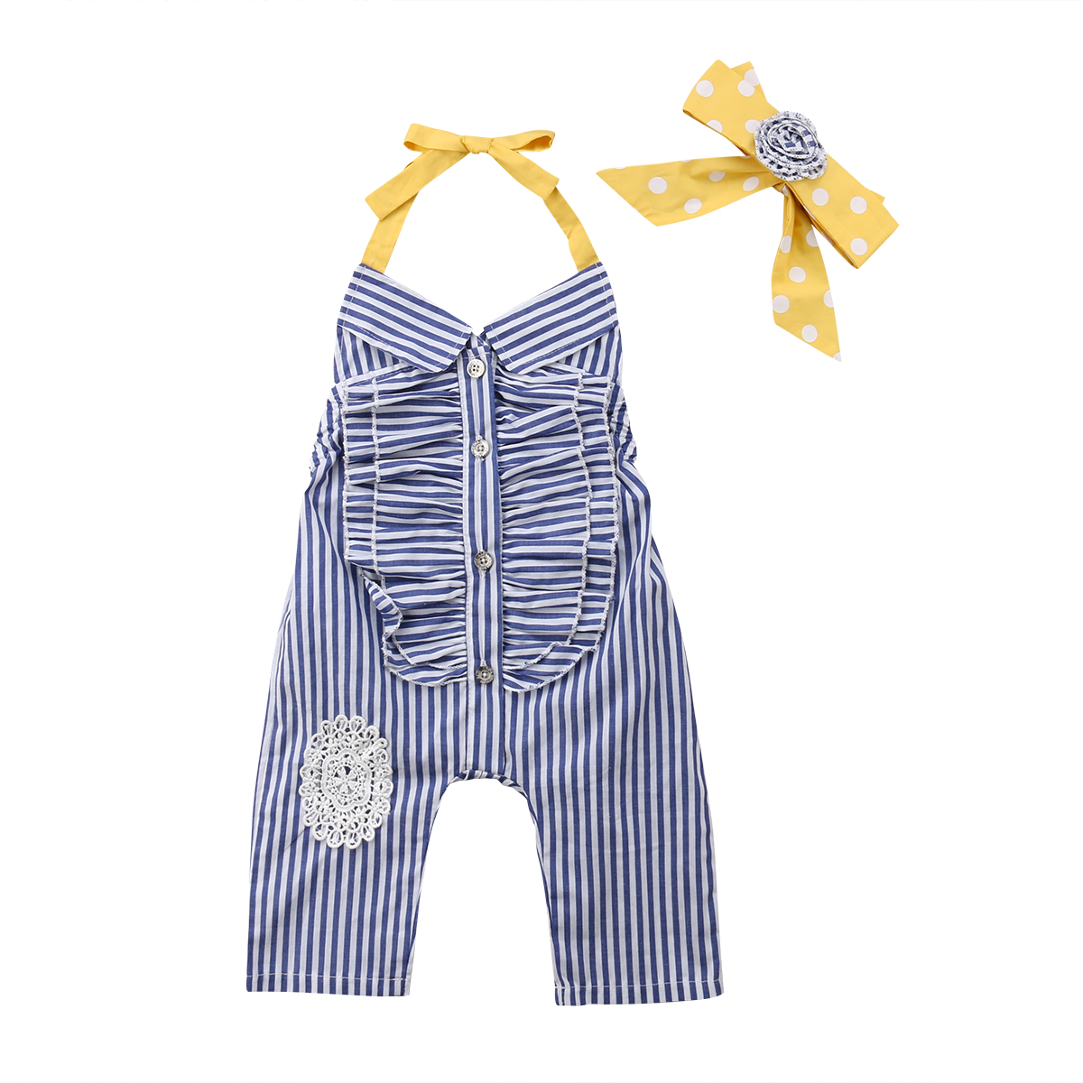 Mother & Kids Girls' Baby Clothing Bright Kid Baby Girl Clothes Striped Jumpsuit Harem Rompers Sleeveless Halter Overall Headband 2pcs Cotton Outfit Girl 1-6t Curing Cough And Facilitating Expectoration And Relieving Hoarseness