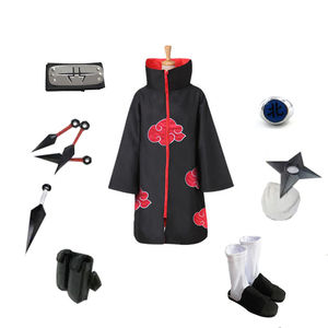 Image 2 - Brdwn NARUTO Unisex Akatsuki Kakuzu Ninja Cosplay kostüm (kırmızı bulut pelerin + kafa bandı/maske + ayakkabı + yüzük + kunai + çanta + shuriken)