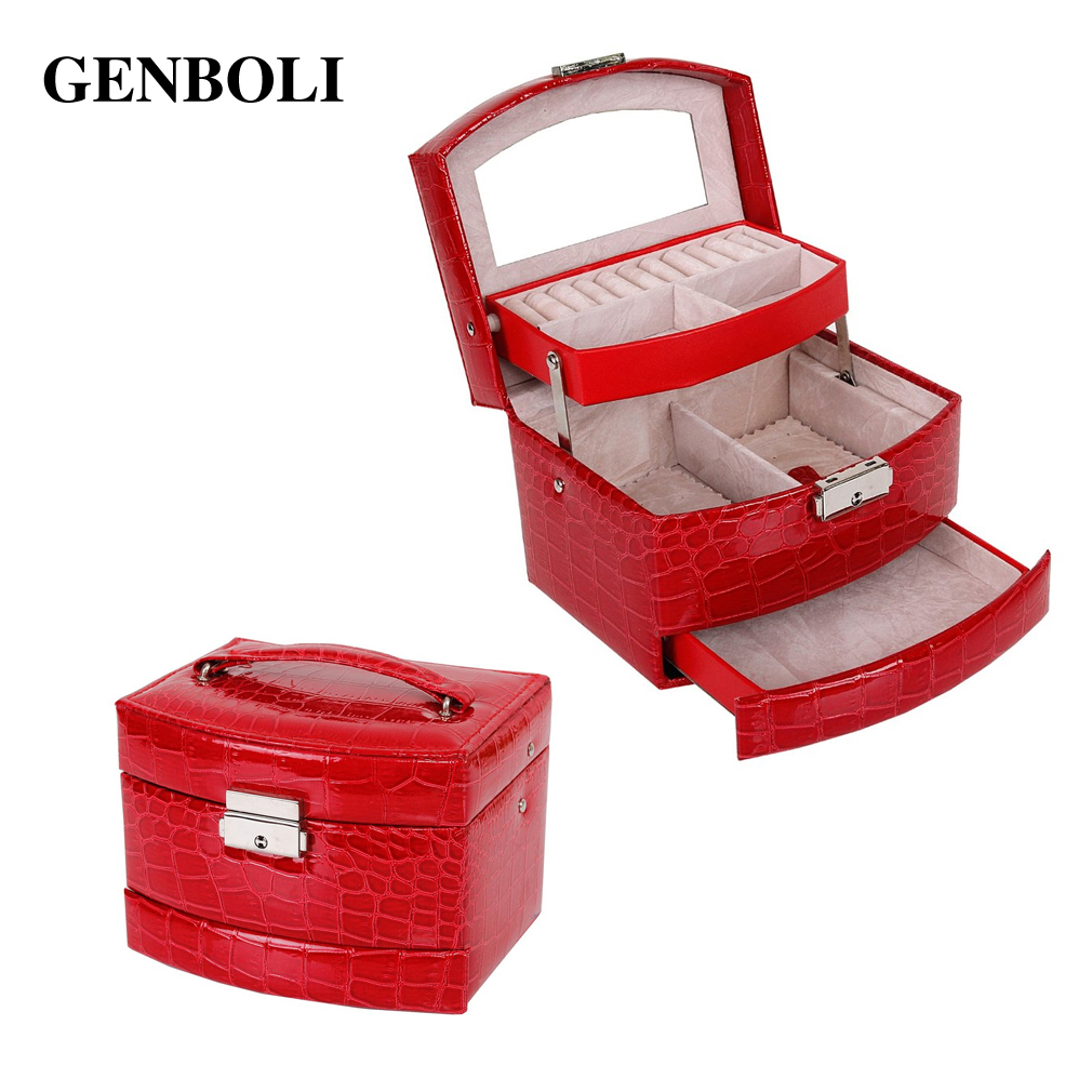 Princess Makeup Carrying Case Crocodile Print Automatic Buckle Jewelry Storage Display Casket Cosmetic Organizer Holder Box Gift