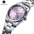 Popular Women Watches Brand WWOOR Day Date Clock Ladies Casual Quartz Watch Women Luxury Stainless Steel Pink Watch Montre Femme