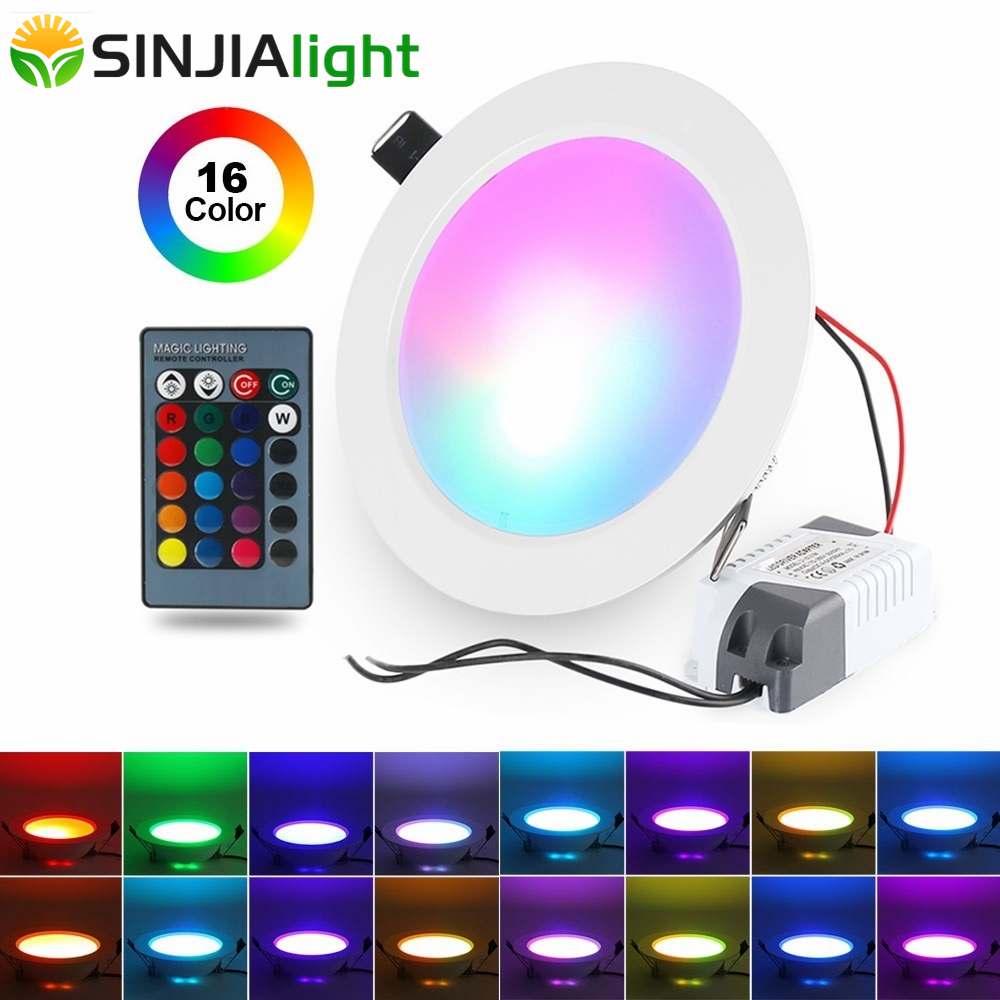 5W 10W RGB LED Panel Light With Remote Control Round Shape Downlight Lamp Ceiling Lights Indoor Lighting Led Lights Decoration 5w 10w rgb rgbw led ceiling panel light ac85 265v embedded recessed downlight bulb changable with 24 key remote control