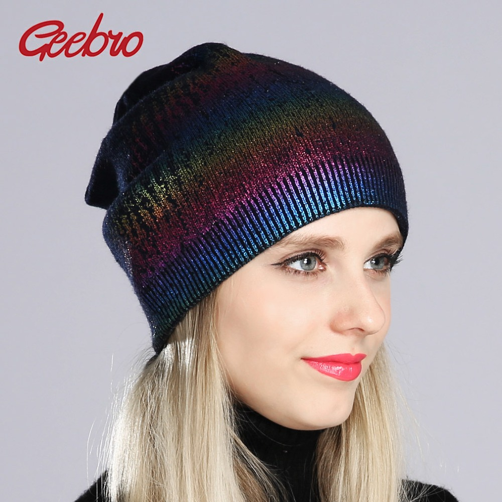 Geebro Womens Bronzing Beanies Hat Spring Wool Knitted Slouchy Beanie For Women Ladies Metallic Color Skull Cap Balaclava ...