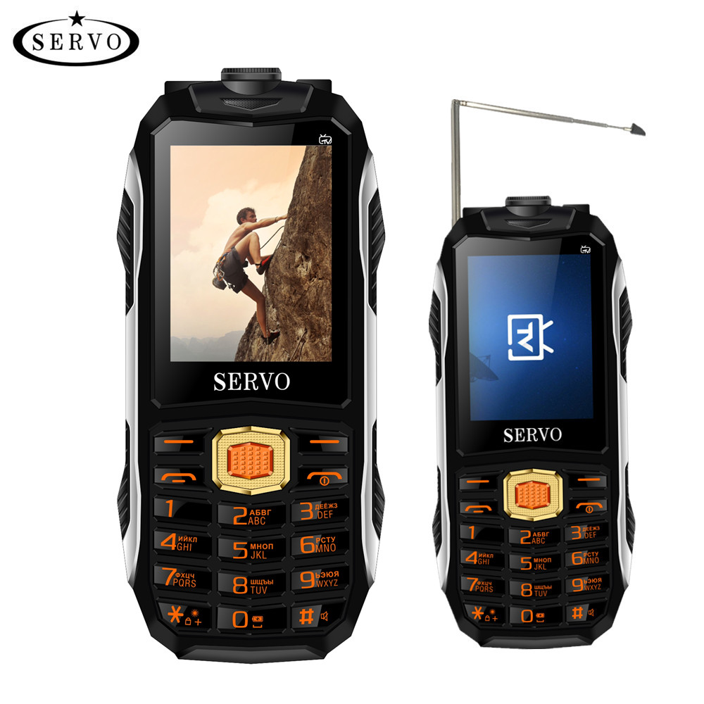 SERVO MAX Voix Magique Trois Cartes SIM TV Analogique Mobile téléphones Laser lampe de Poche Power Bank Robuste Téléphones Portables Avec Livraison Taille Clip