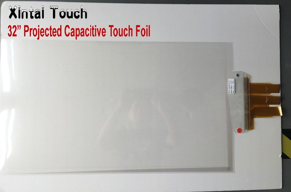 Free Shipping Xintai Touch 32 inch 20 real points interactive touch foil Film through glass window