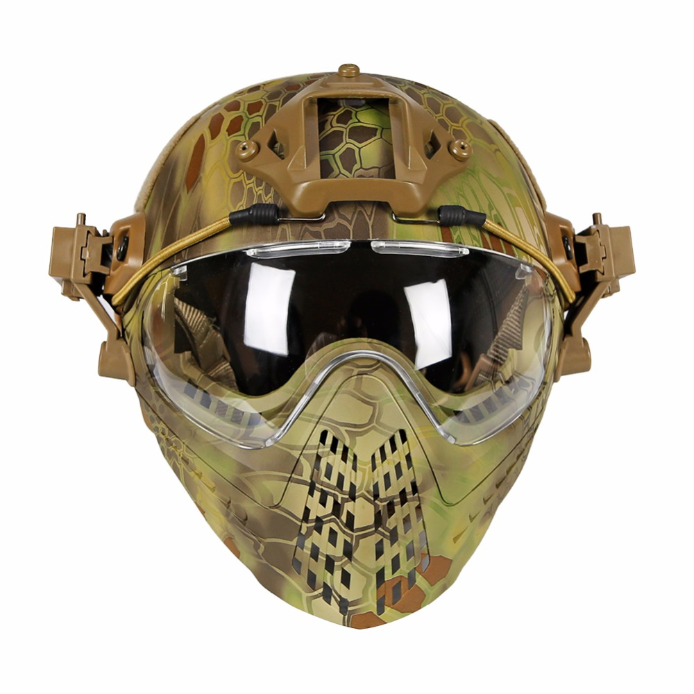 green tactical helmet with mask airsoft helmet paintball fullface protective face mask helmet for sports cs military helmet WoSporT Tactical Helmet with Pilot Mask Airsoft Helmet Paintball Fullface Protective Face Mask Helmet for Sports CS Military
