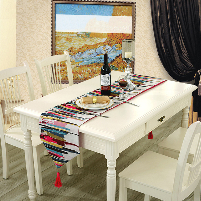 Zhuimenglong Fashion Modern Table Runner Colorful Nylon Runner Table Cloth  With Tassels Cutwork Embroidered Table Runner