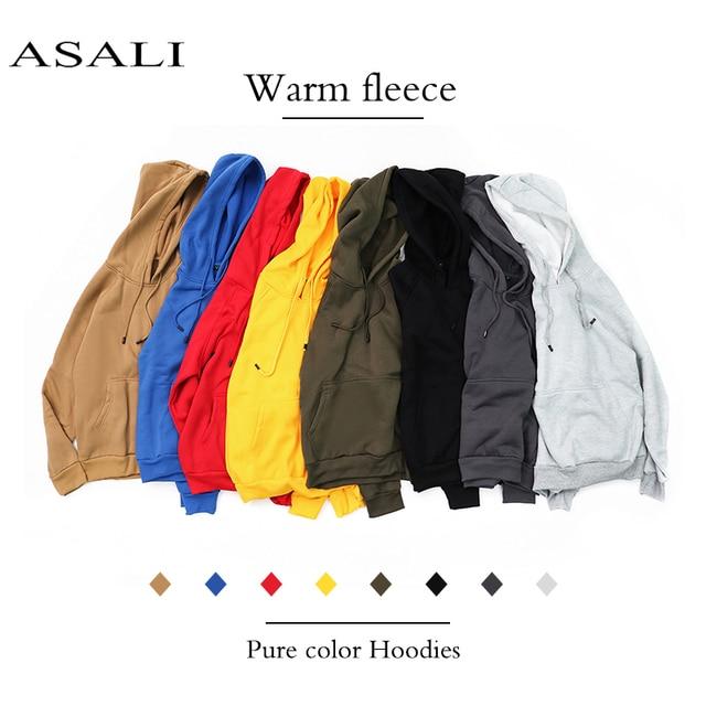 ASALI Hoodies Men 2018 New Autumn Fashion Solid Hooded Sweatshirts Casual Warm Fleece Hoody Tracksuit US/Eur Size Brand Clothing