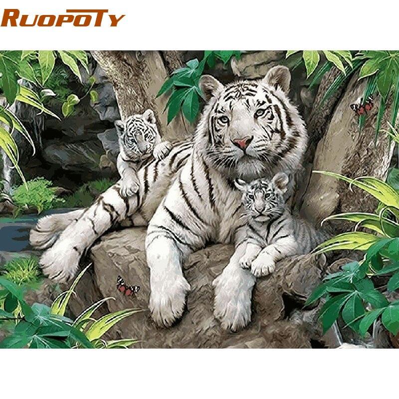 RUOPOTY Tigri Bianche Animali Diy Pittura By Numbers Wall Art Picture Home Decor Pittura A Olio Dipinta A Mano Per La Camera cornice fai da te