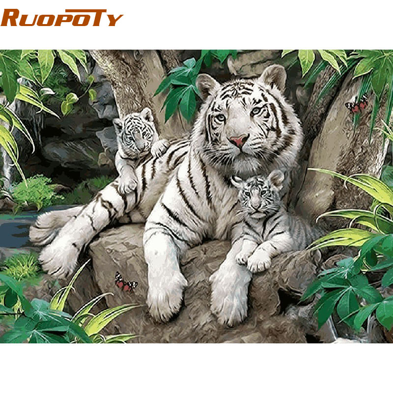 RUOPOTY White Tigers Animals Diy Painting By Numbers Wall Art Picture Home Decor Handpainted Oil Painting For Room diy frame