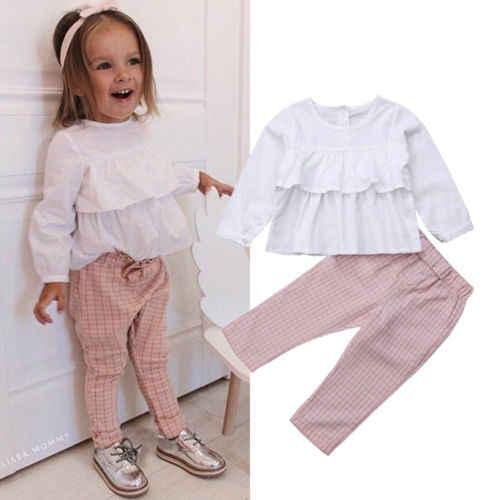 2018 Moda Prenses Çocuk Bebek Kız Ruffles Sonbahar Kıyafetler Katı Puf Kollu Bluz Tops Ekose Pantolon Tayt 2 Adet Setleri 1-6Y
