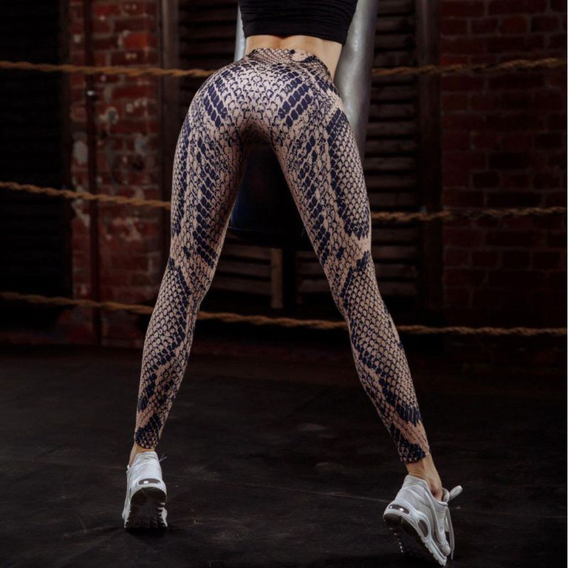 Quality Snake Print Sexy Women Workout Fitness Leggings Push Up High Waist Workout Legging Sporting Clothing Leggins