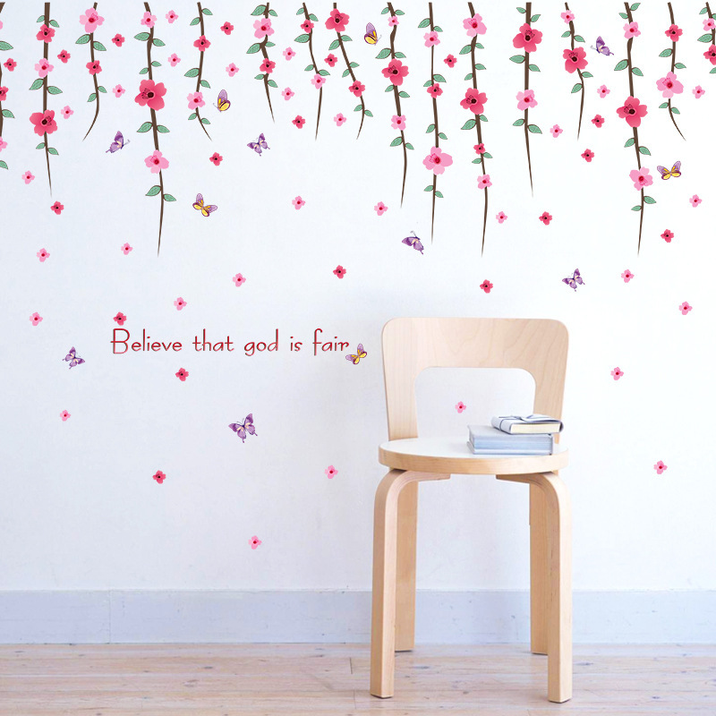 Self-Adhesive Romantic Flower Vine Wall Sticker Living Room Tv Background Art Wall Decals Home Decor Sticker Mural