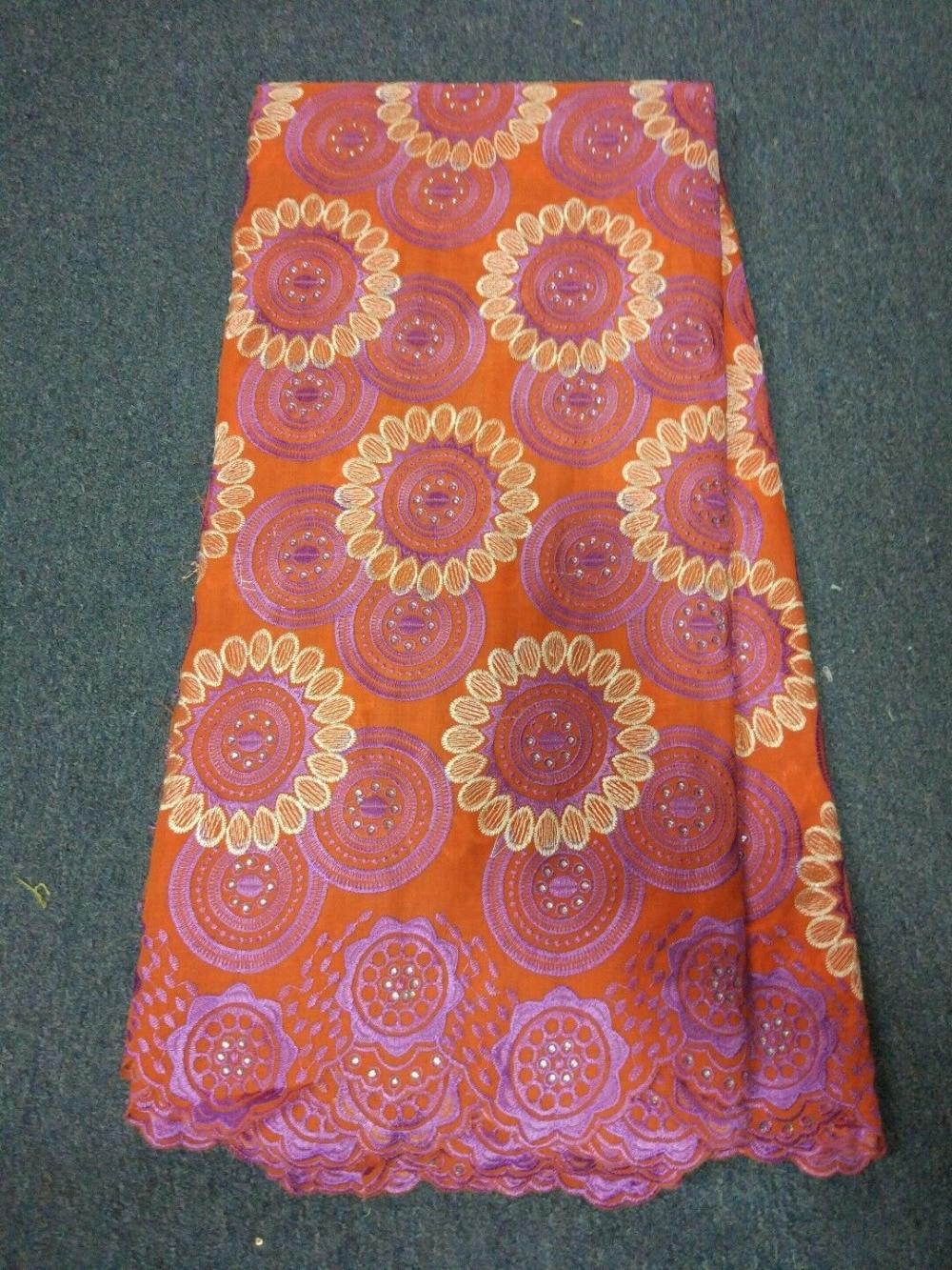 ec3b78d2ac Ładne orange szwajcarski woal koronki hafty afryki bawełniane koronki  tkaniny z kamienia dla sukienka na imprezę BC8-4