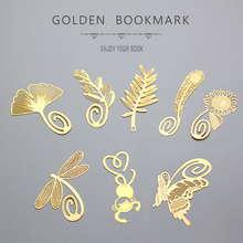 48 pcs/Lot Vintage gold metal bookmark for book Butterfly Dragonfly Feather  School supplies marcadores de livro FC409 8 pcs lot golden feather bookmark beautiful flowers leaves page clip fresh stationery office school supplies fc409